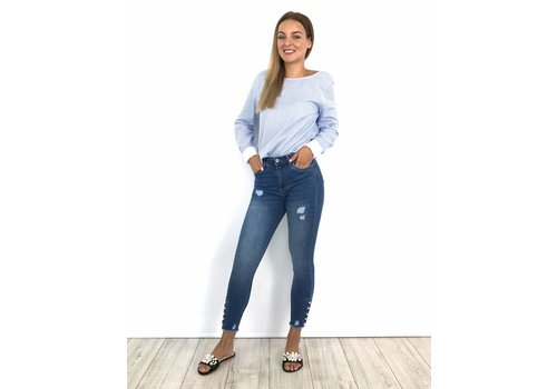 Jeans skinny crop pearly detail