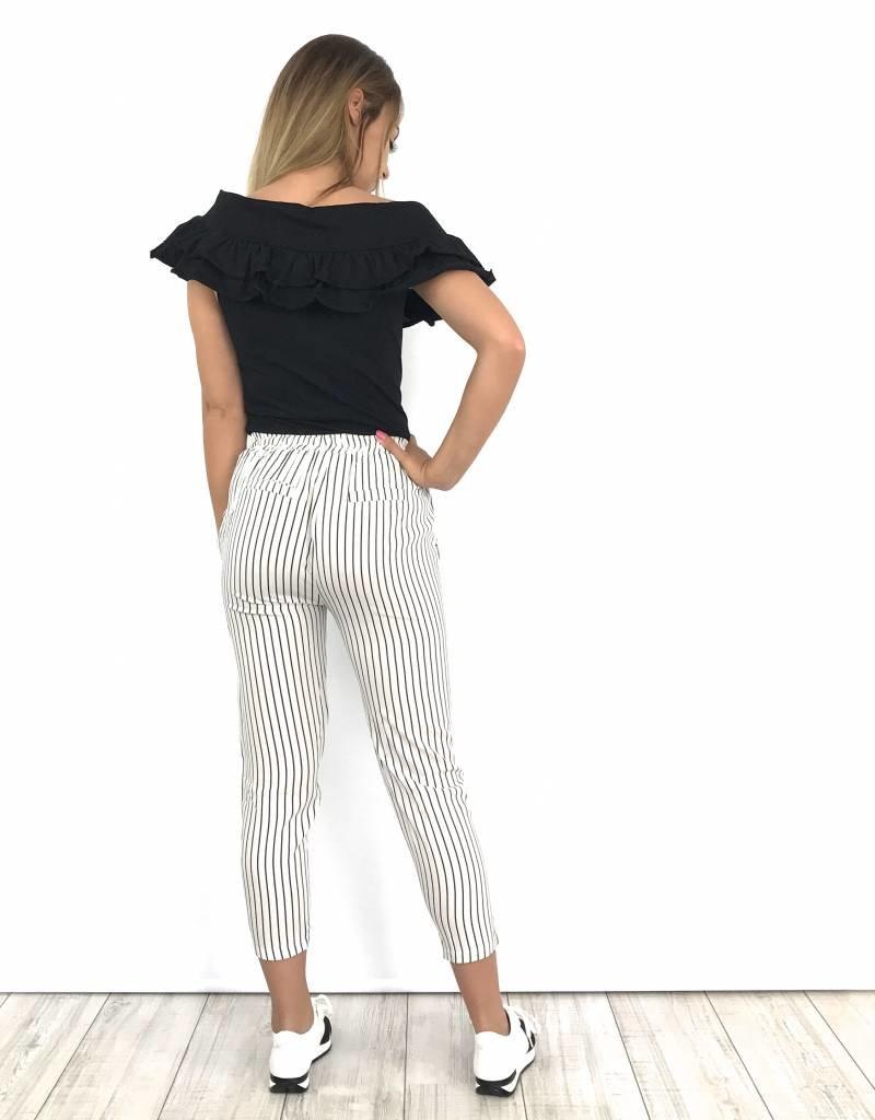 Striped pants white 5956