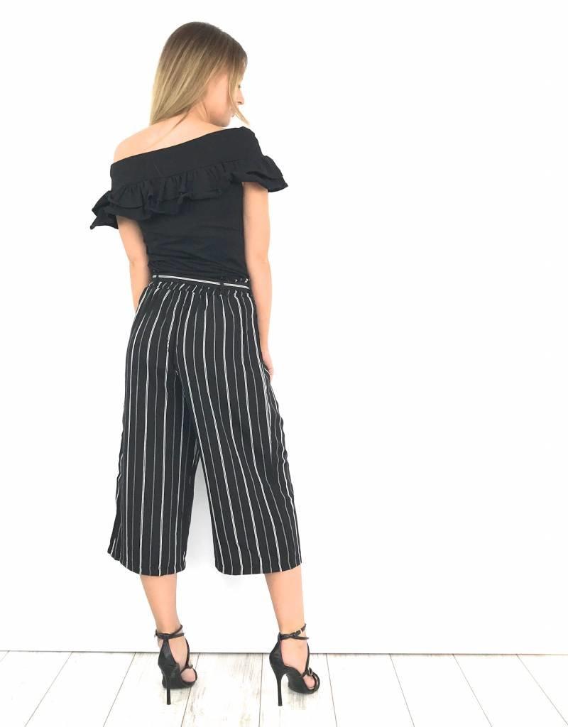Black striped culotte pants JW177