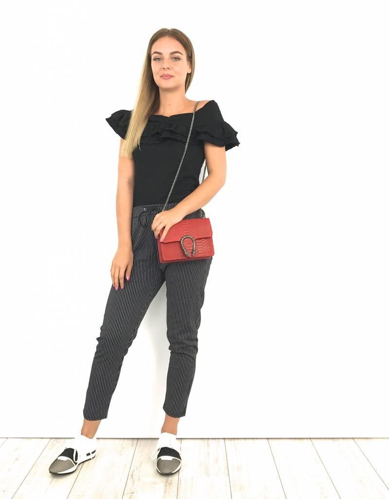 Black pantalon white stripes 5902