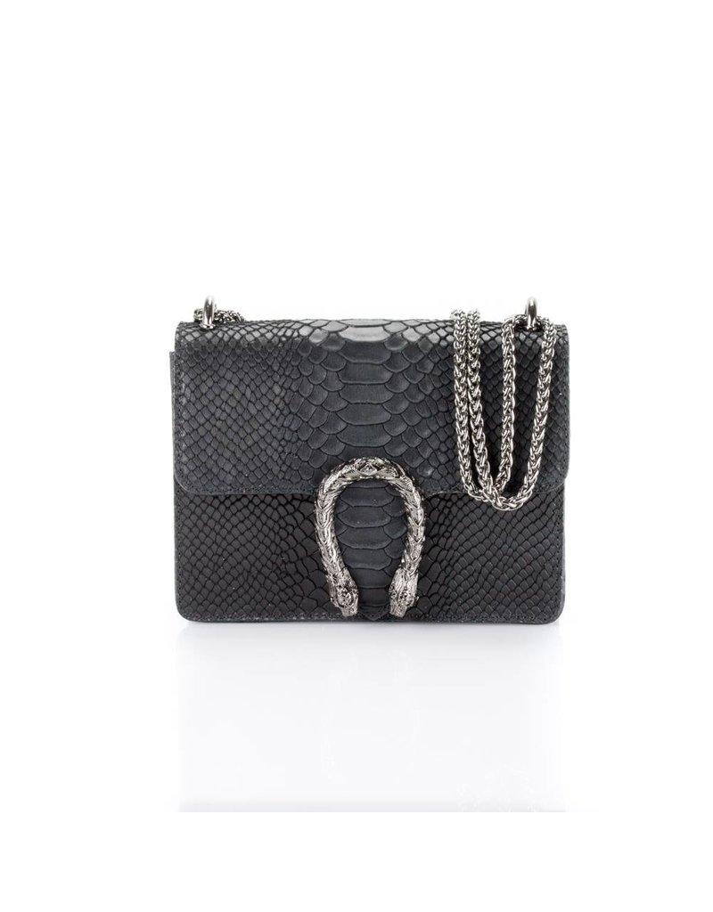 Black snake leather bag 21 X 16