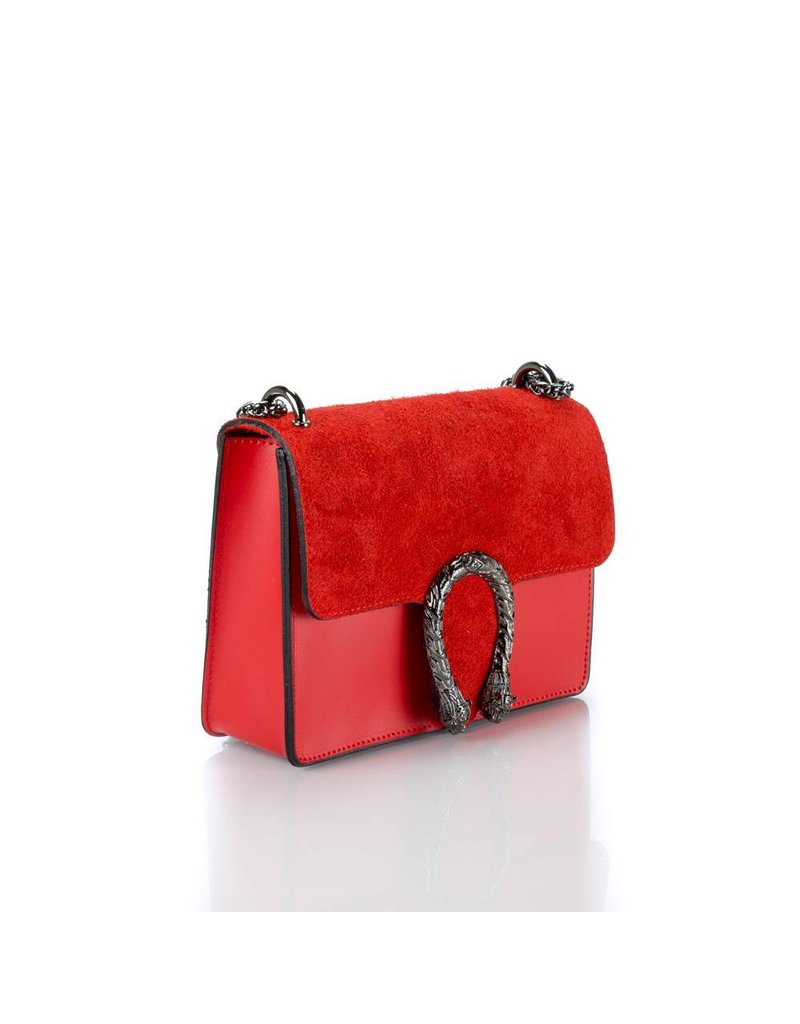 Suede/leather bag red