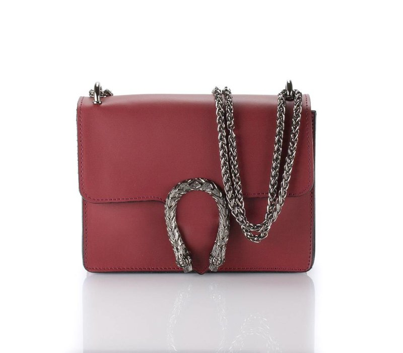Bordeaux red leather bag