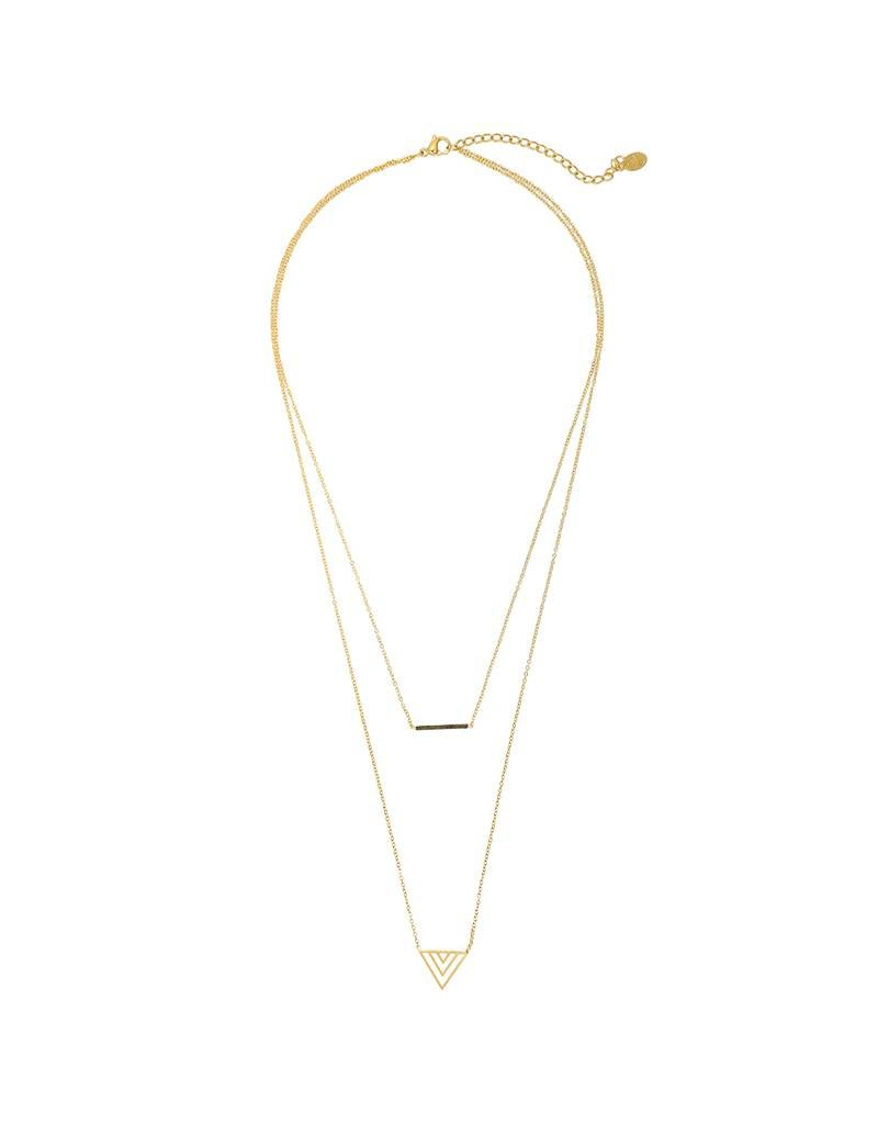 Ketting triple triangle gold