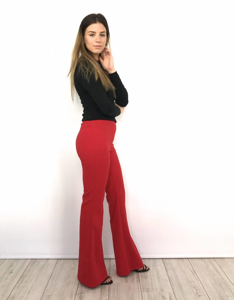Red flair pants