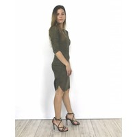 Kaki suedine dress Y15101