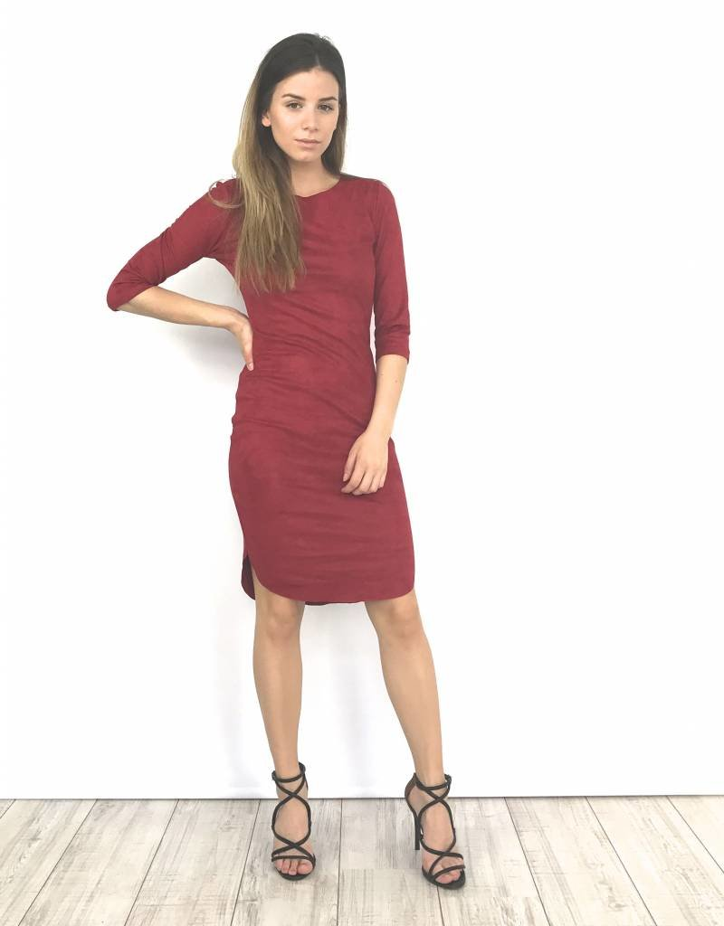 Bordeaux suède dress Y15101