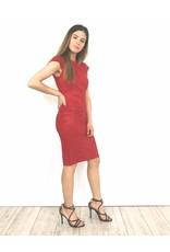Red suede dress zipper R26-52