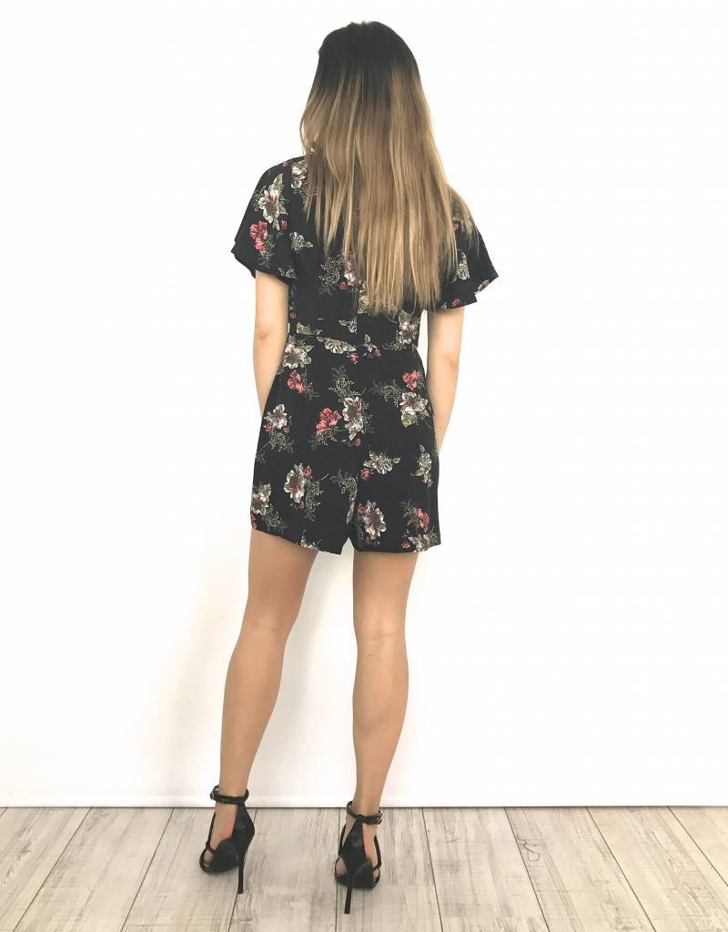 Summer playsuit red flowers 660