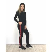 Black pants red stripe JW182