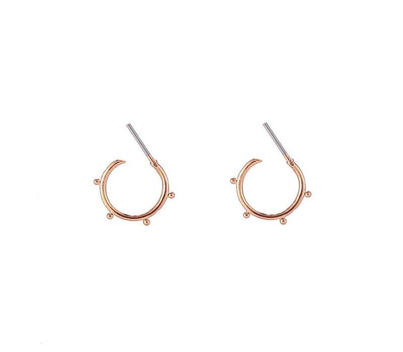 Oorbellen trendy tiny points copper