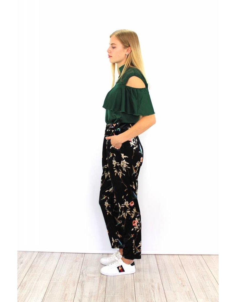 Black flower pantalon 4536AP