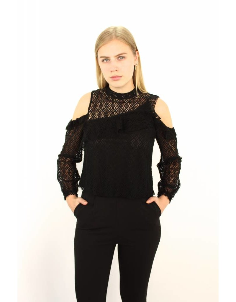 Black classy lace top E3062
