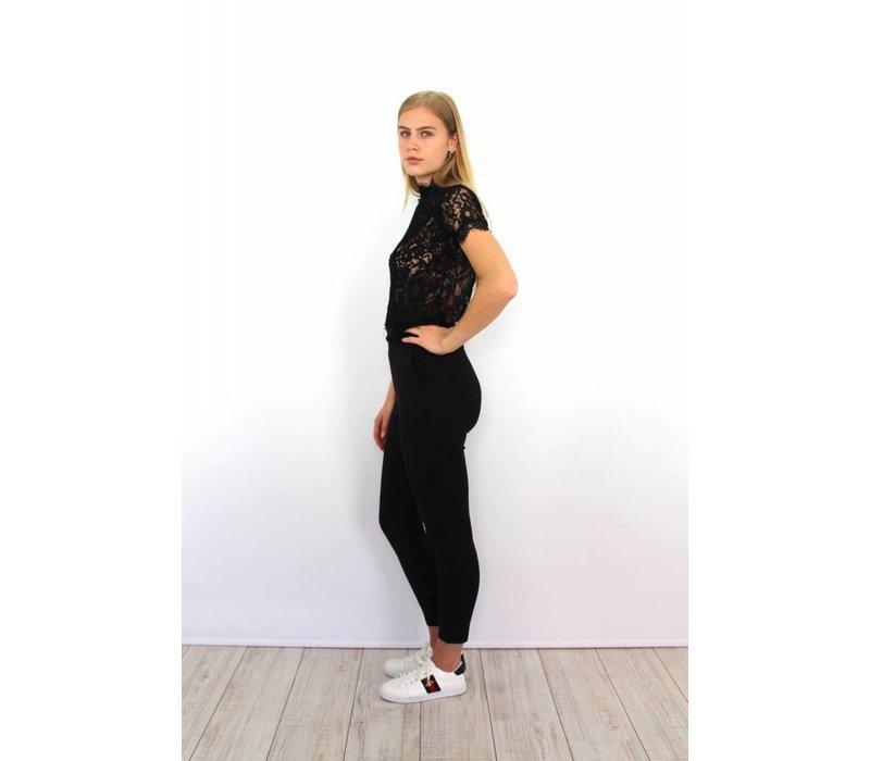 Black high waist pants W7136