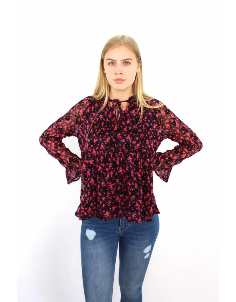 Pink flower blouse F-518