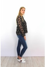 Black flower blouse F-518