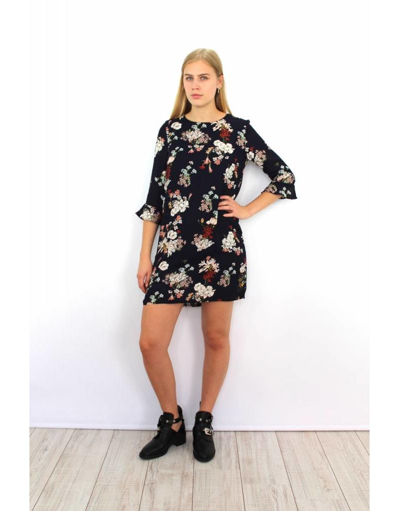 Dark blue flower dress HU900