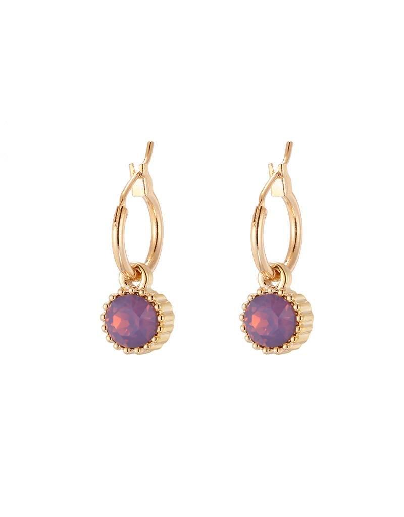 Oorbellen posh sparkle gold dark purple