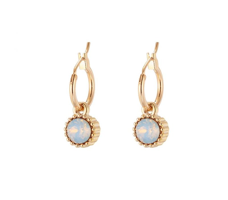 Oorbellen posh sparkle gold light blue