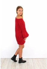 Red knitted sweater dress