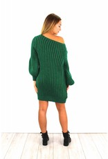 Green knitted sweater dress