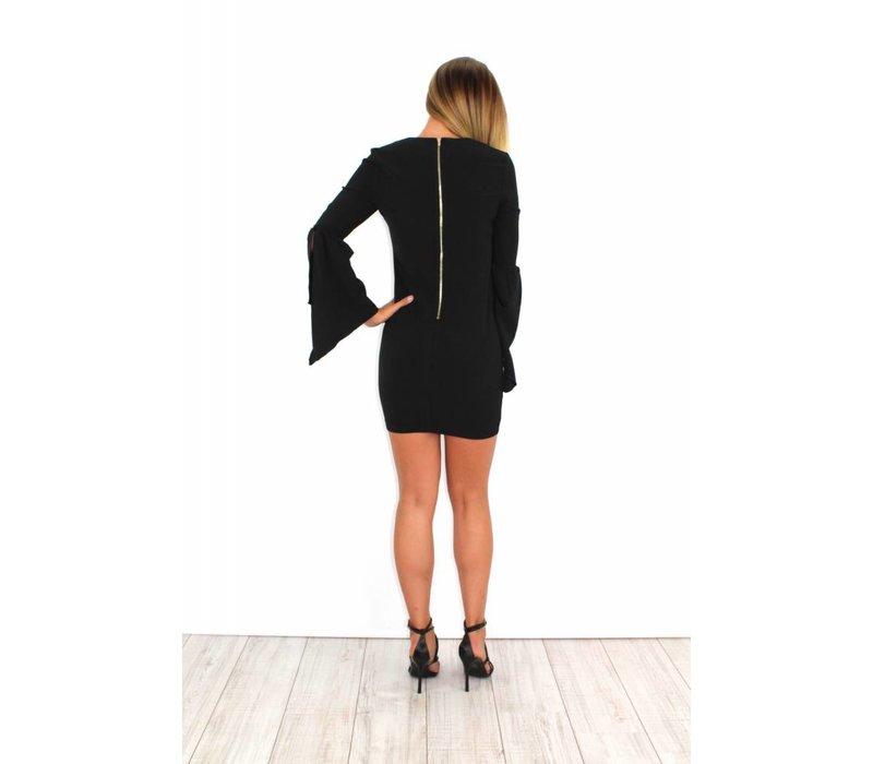 Black flared dress 19536