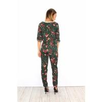 Green flower jumpsuit flowers PU-XL1721