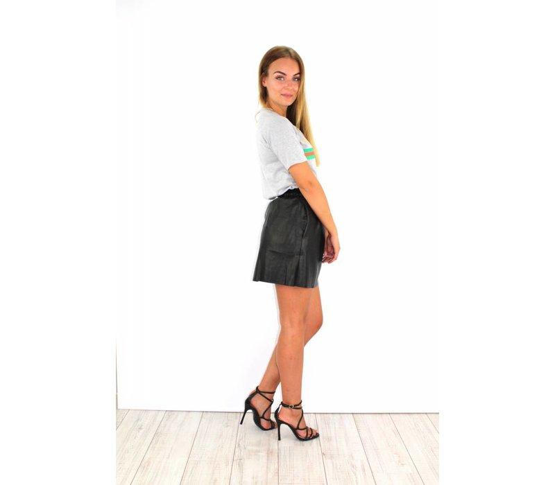 Black leather skirt C7502