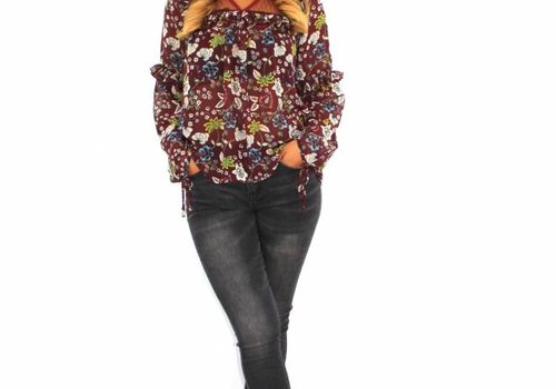 Kilky Red flower blouse