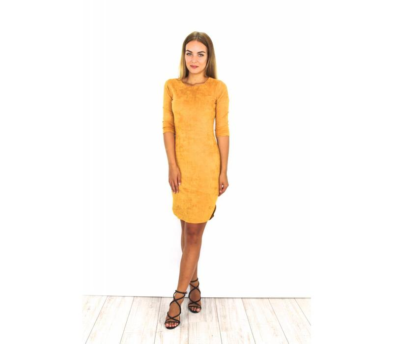 Yellow suede dress Y15101