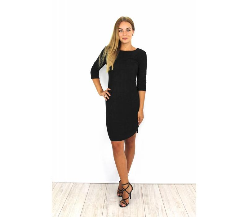 Black suedine dress Y15101
