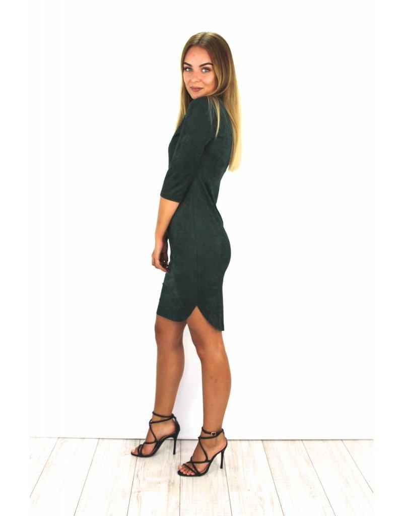Green suede dress Y15101
