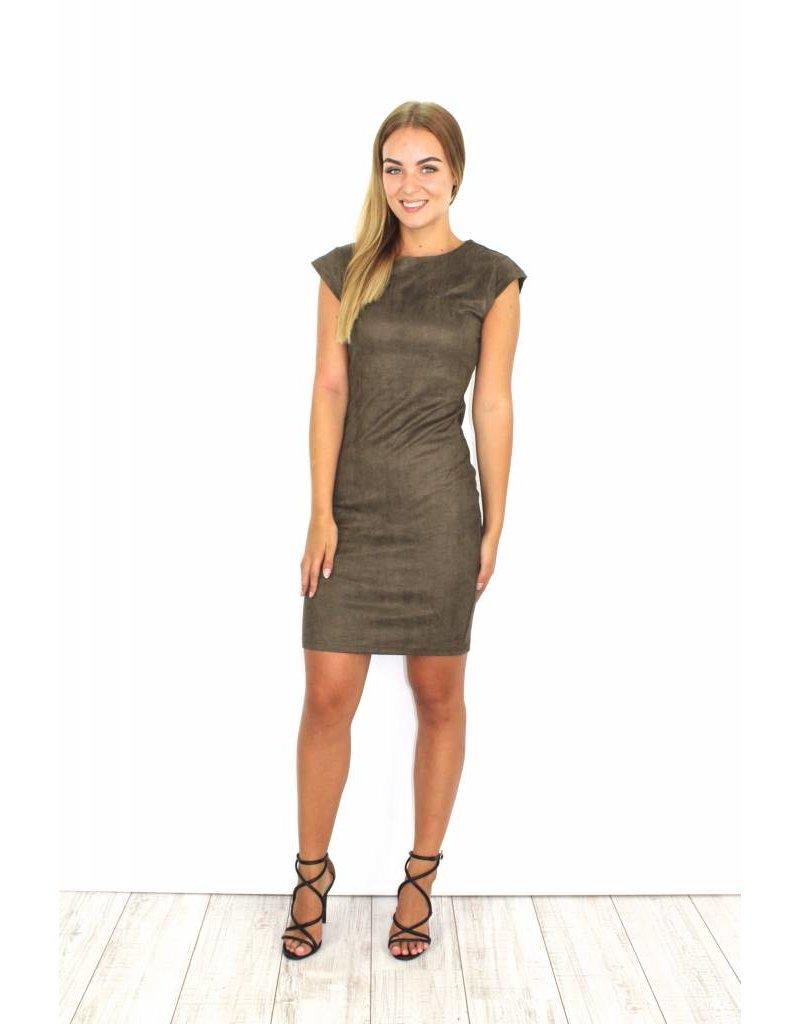 Kaki suede dress zipper R26-52