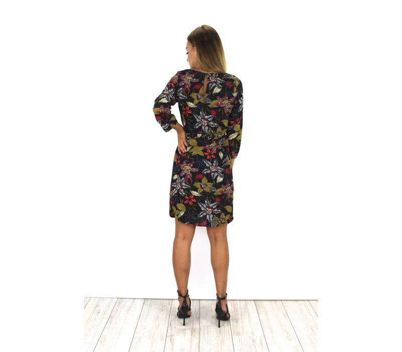 Black flower & birds dress 196022JR