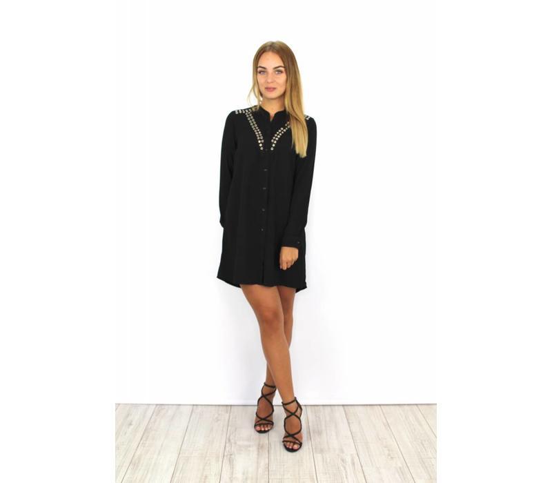 Black blouse dress 8204