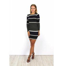 Striped dress black & green
