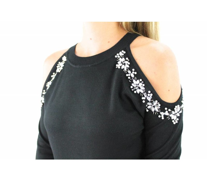 Black cold shoulder diamant 68936