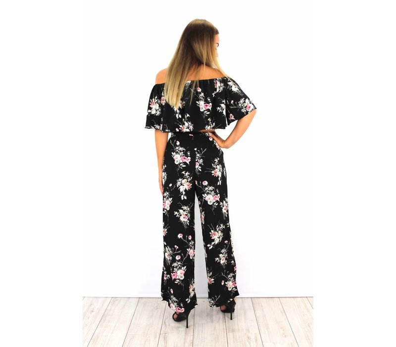 Black pants pink flowers 80093
