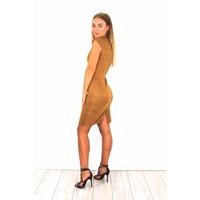Camel suede dress zipper R26-52