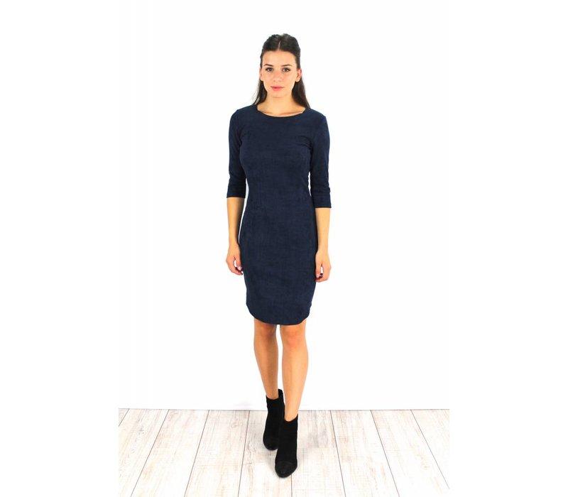 Marine blue suede dress 15101