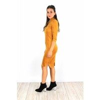 Yellow classy suede dress 6211