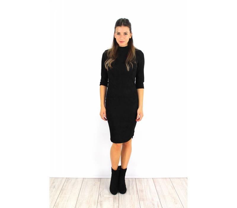 Black classy suede dress 6211