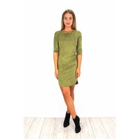Green suede dress Y15101