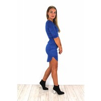 Royal blue suede dress 15101