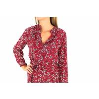 Red flower blouse dress