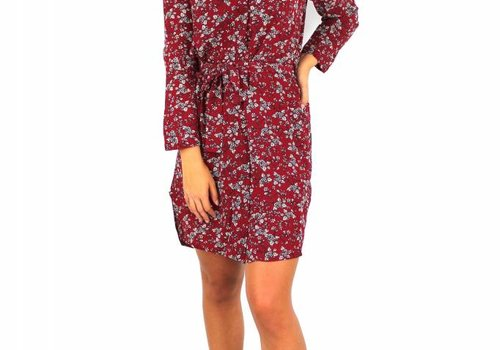 Akoz Red flower blouse dress