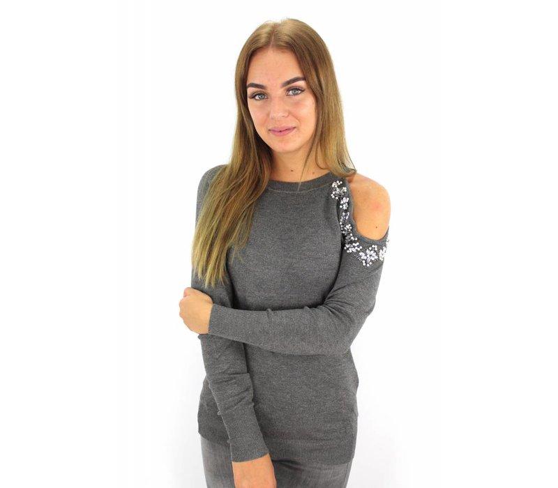 Grey cold shoulder sweater diamond D222-3