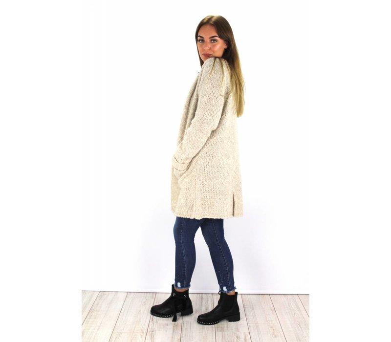 Ecru knitted cardigan 2067