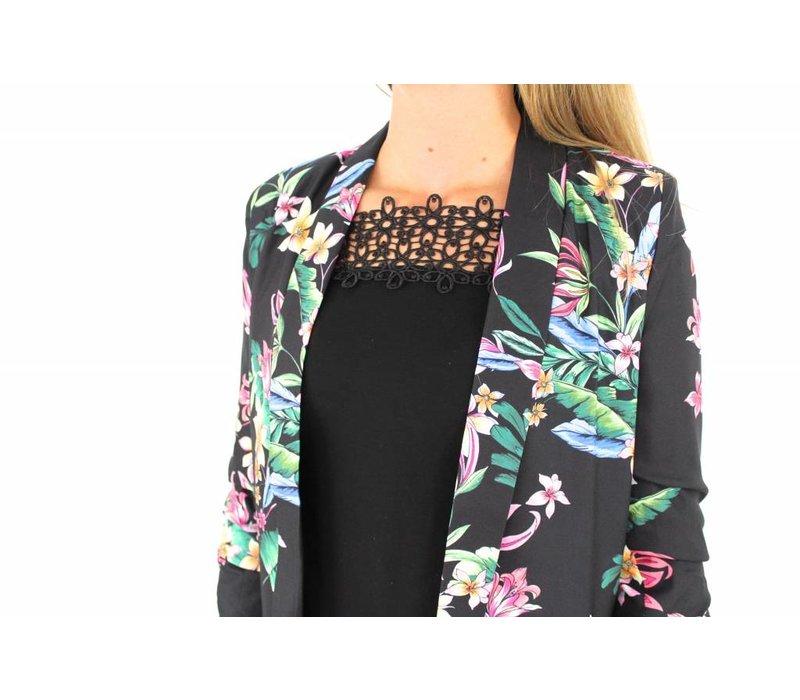 Black flower blazer H815