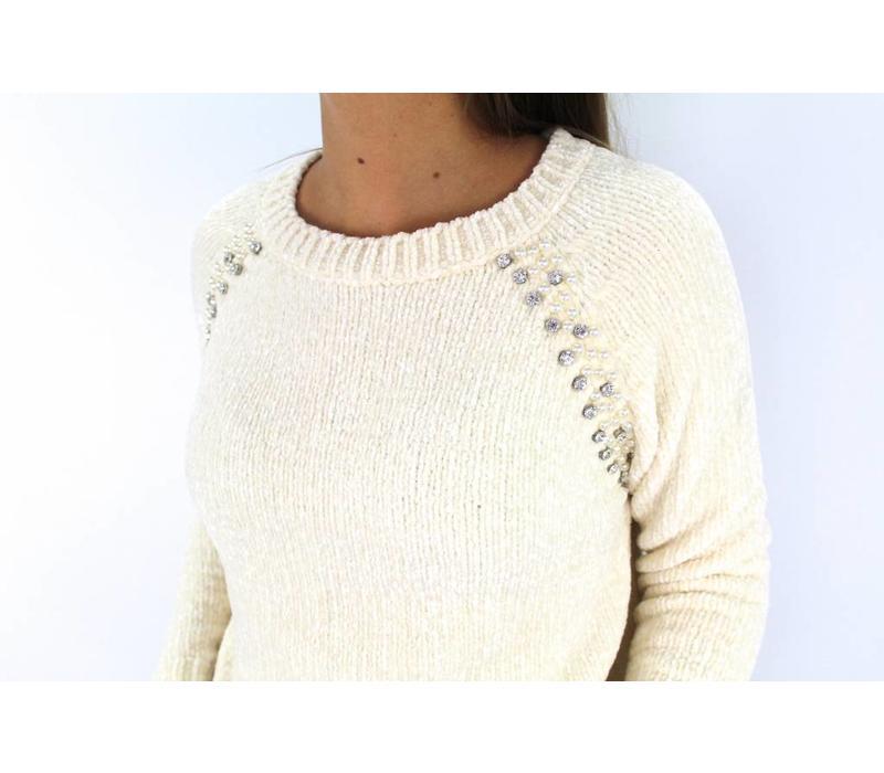 Ecru sweater diamond AP606